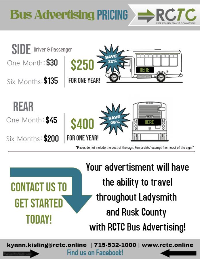 RCTC Bus Advertising Pricing