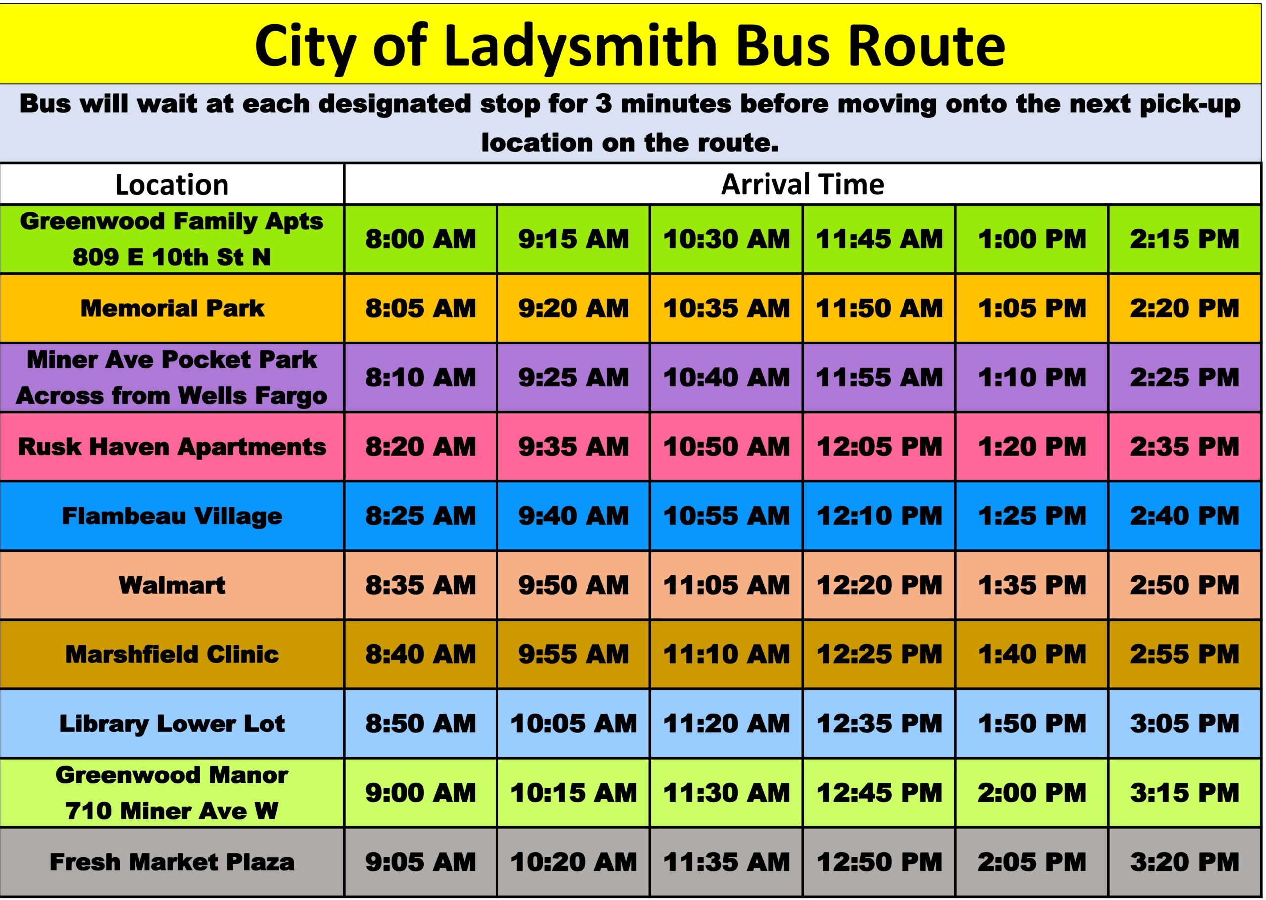 City of Ladysmith Bus Route Summer Schedule